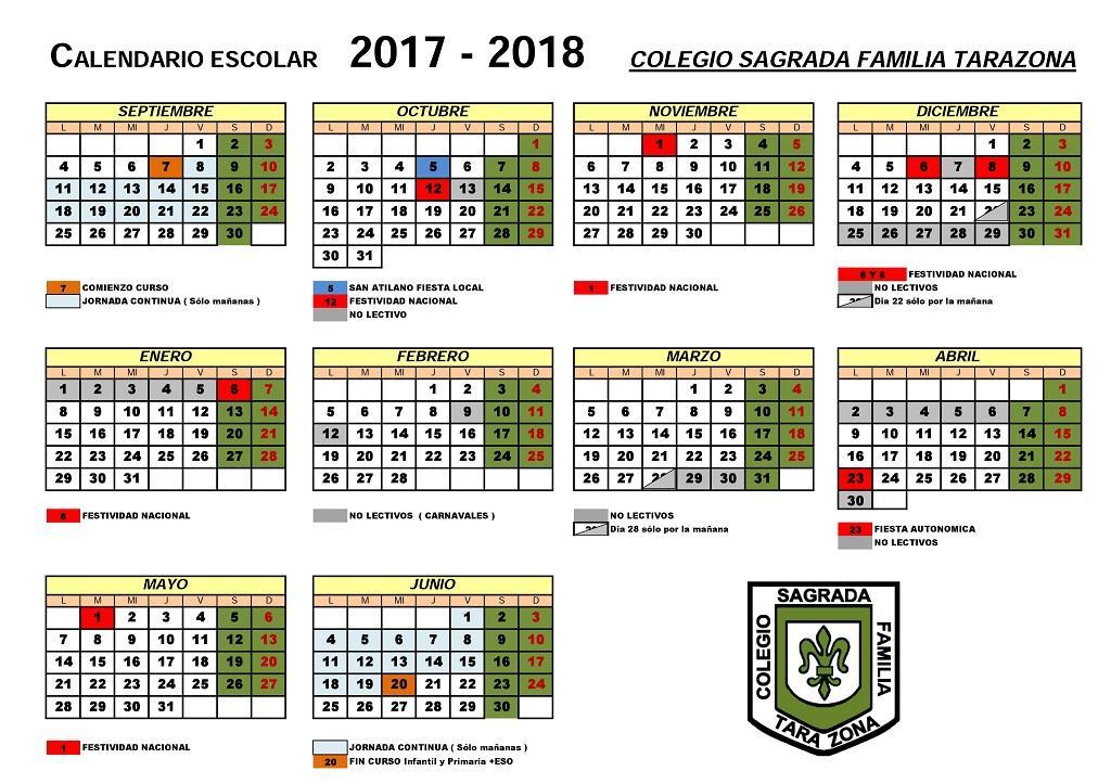 Aragon Calendario Escolar.Calendario Escolar Colegio Sagrada Familia Tarazona